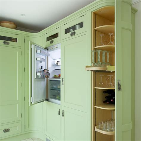 green shaker style kitchen green shaker kitchen with curved units ideal home 4039