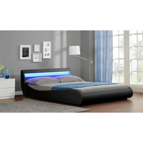 eclairage chambre a coucher led lit design 2 places malya noir 160x200 achat vente