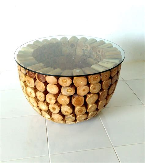 Teak Log Coffee Table with Glass top   Prime Liquidations