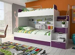 Hochbett Für Zwei Personen : etagenbett kinderbett lila mit seitlicher treppe rechts m bel zeit ~ Bigdaddyawards.com Haus und Dekorationen