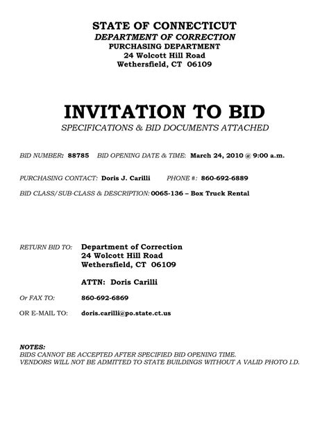 for bid invitation to bid template clergy coalition