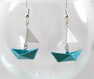 Origami Bateau à Voile : boucles d 39 oreilles bateau voile origami en papier ~ Dode.kayakingforconservation.com Idées de Décoration