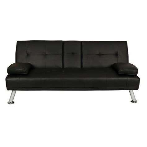 Futon Settee by Wido Black Faux Leather Sofa Bed Modern 3 Seater Settee