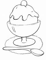 Ice Cream Coloring Pages Icecream Bowl Drawing Printable Spoon Scoop Cone Sunday Print Getcolorings Getdrawings Fun sketch template