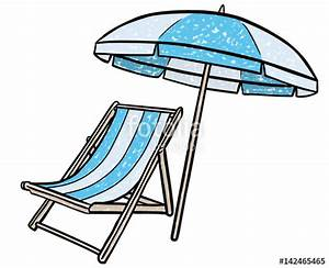 quotfarbige zeichnung liegstuhl und sonnenschirm vektor With französischer balkon mit sonnenschirm comic