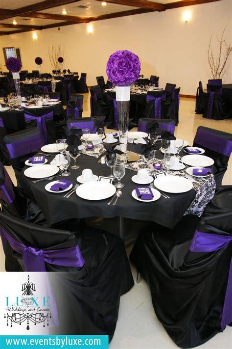 purple black  white damask wedding decor damask