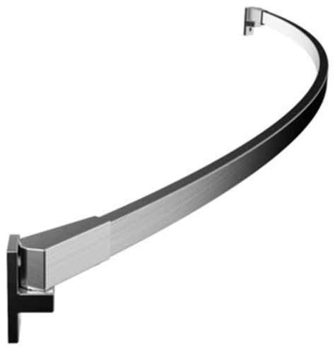 curved rectangular shower rod brushed nickel modern