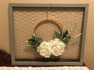 Cute, Rustic, Gray, Distressed, Frame, With, Chicken, Wire, And, Embroidery, Wreath, Shabbyblessings
