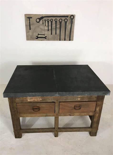 vintage industrial pine printers table zinc top kitchen island worktable  sale  stdibs