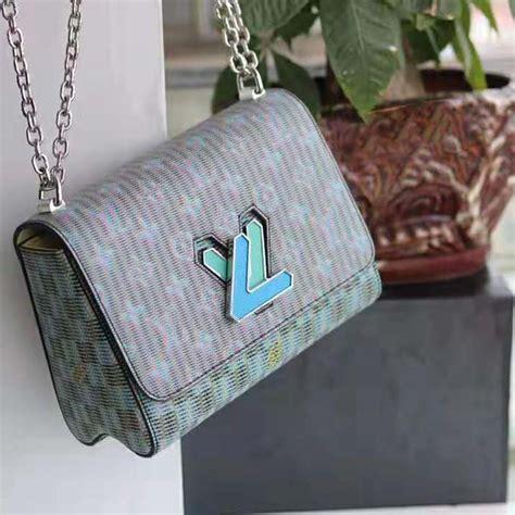 louis vuitton lv women twist mm bag  neon monogram lv pop print blue lulux