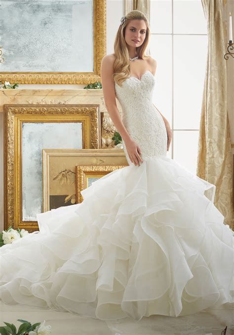 Lace And Tulle And Organza Mermaid Wedding Dress Style