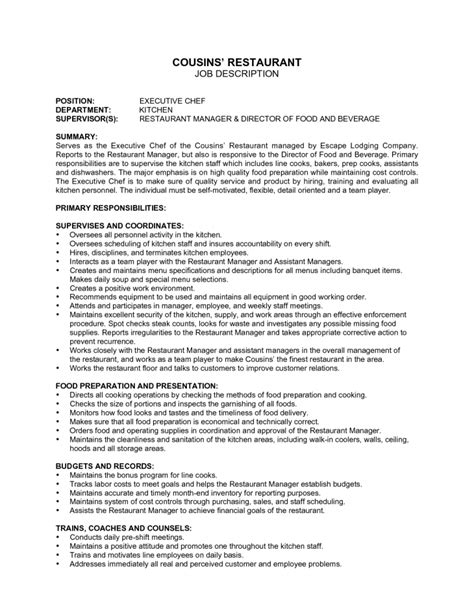 chef self appraisal performance evaluation form page 2