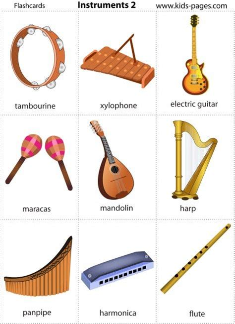 preschool musical instruments pages free printable instruments flash cards 224