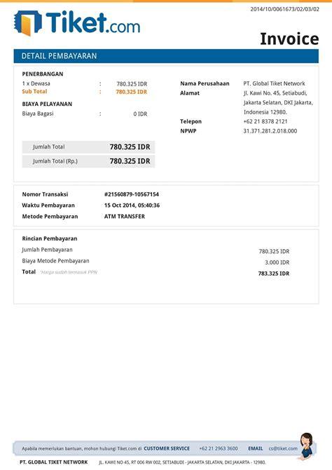Surat Invoice by Contoh Invoice Tiket Contoh M
