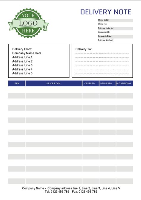 Standard Shipping Note Template by Mono Ncr Sets