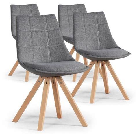 lot 4 chaises lot de 4 chaises scandinaves thilda tissu gris achat
