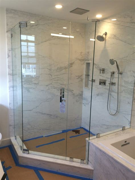 Frameless Neo Angle Shower Doors by Frameless Neo Angle Shower Enclosure With No Header