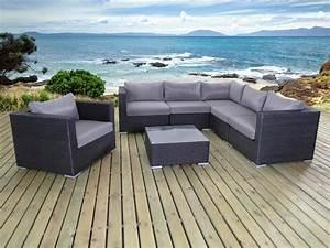 Salon de jardin en résine tressée Auckland 1 canapé d