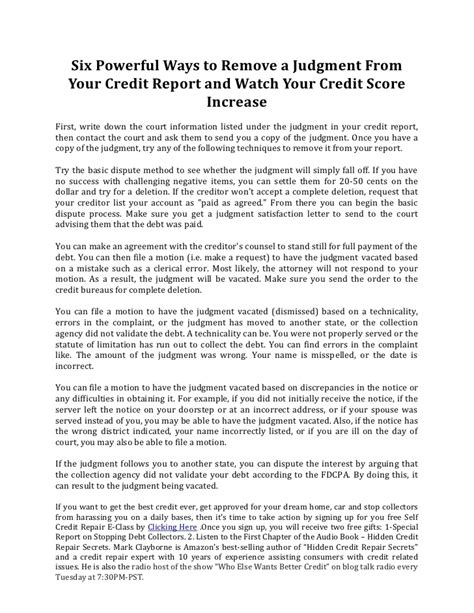 powerful ways  remove  judgment   credit
