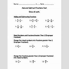 Fraction Test 4th Grade (go Math)  Adding & Sub, Mixed & Improper, Renaming