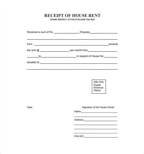 rent receipt template   word excel  format