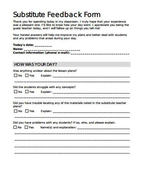 free substitute teacher forms 12 free sle feedback forms sle templates
