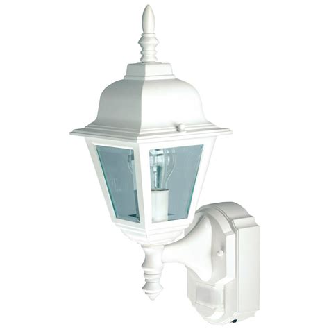 heath zenith 1 light white motion activated outdoor wall