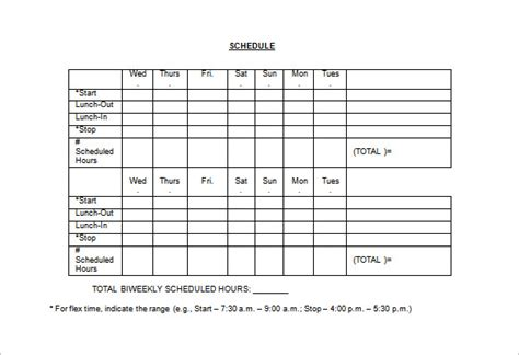 search results    work schedule template