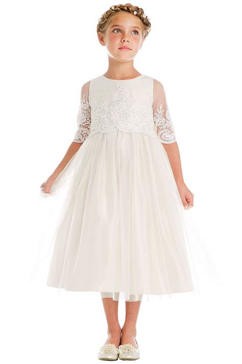 sweet kids sk  white sequin cord embroidered mesh