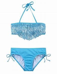 Solid Fringe Bikini Swimsuit | Girls Swimsuits Swimwear ...
