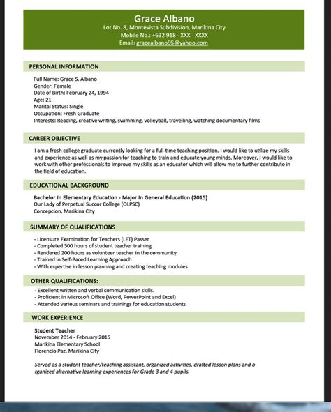 jobstreet resume sle for fresh graduate resumes design