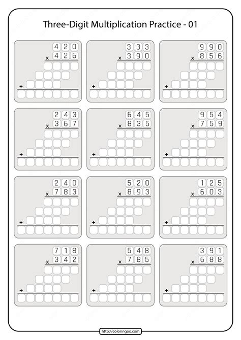printable  grade multiplication worksheet