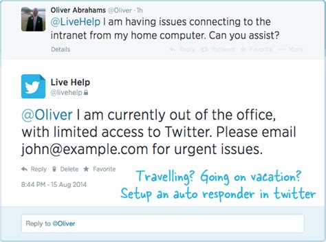 setup    office auto reply  twitter