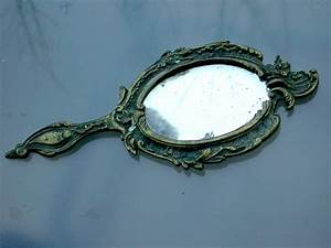 Antique 19th century french bronze hand mirror Miniature