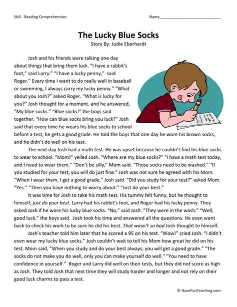 Reading Comprehension Worksheet  The Lucky Blue Socks