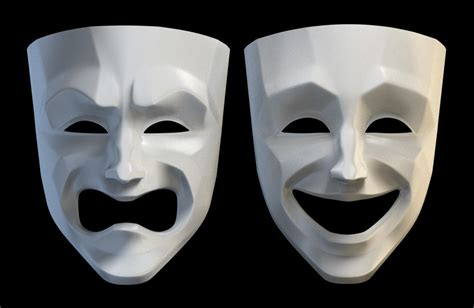 tragedy comedy theater masks  model