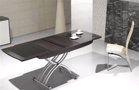 meuble bureau pas cher table basse relevable lea wenge et verre noir tables