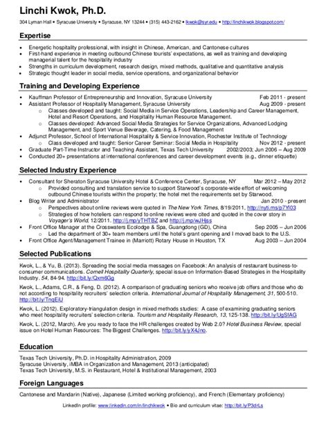 One Page Resume Exle by Linchi Kwok One Page Resume