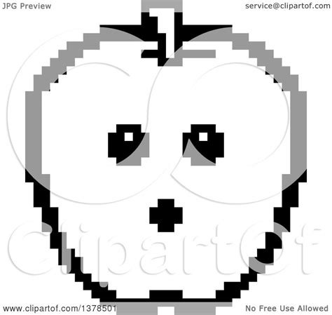 bit clipart black and white clipart of a black and white surprised apple in 8 bit