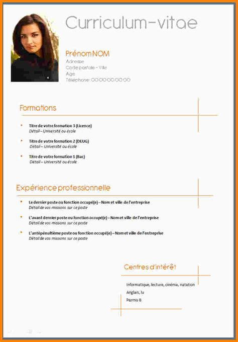 Model De Cv En Francais Simple by Modele Cv Simple Francais Degisco