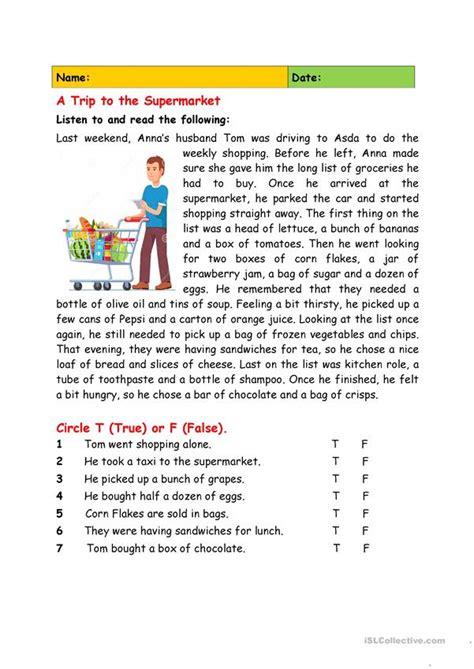 trip   supermarket english esl worksheets