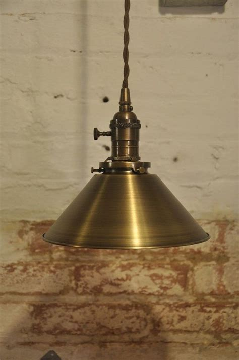 solid antique brass pendant light fixture rustic vintage