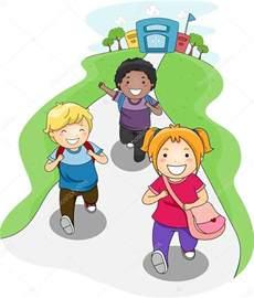 Cartoon Kids Going Home From School
