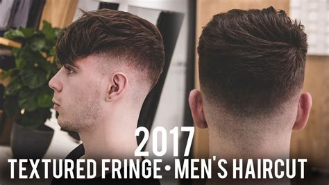Men's Haircut 2017   Textured Fringe with Skin Fade   YouTube