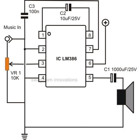simple  power audio amplifier circuit diagram  ic