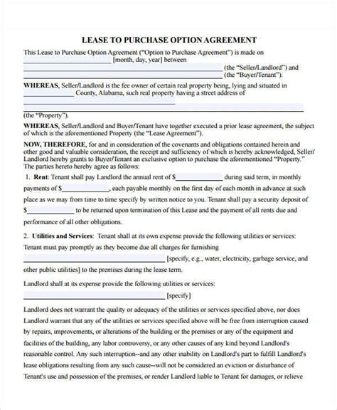 Rent To Buy Contract Template by Equipment Purchase Agreement Template Free Rent To Own
