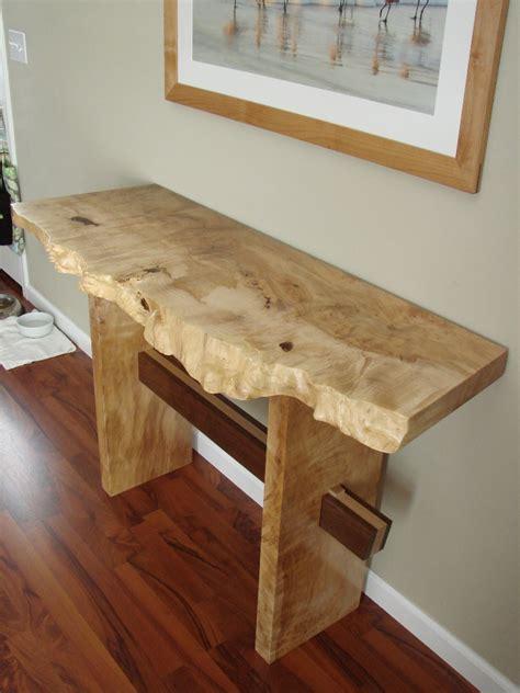 robs natural edge slab hall table  wood whisperer