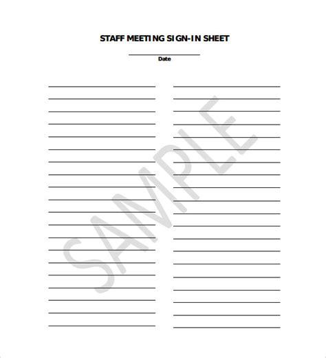 staff meeting sign in sheet