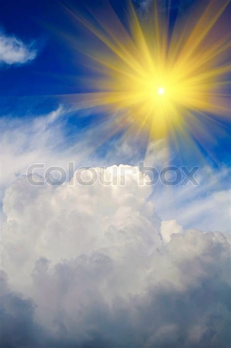 sun shining  sky  puffy clouds stock photo colourbox