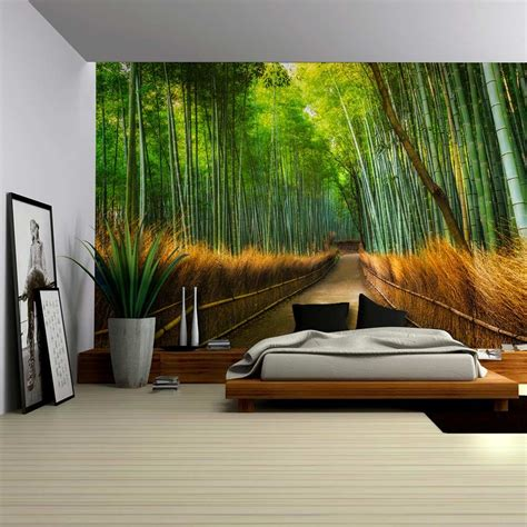 Bamboo wall covering | bamboo matting for interior walls, ceiling and tiki bar. Mural of a Pathway in a Bamboo Forest - Wall Mural, Home Decor - 100x144 inches | eBay